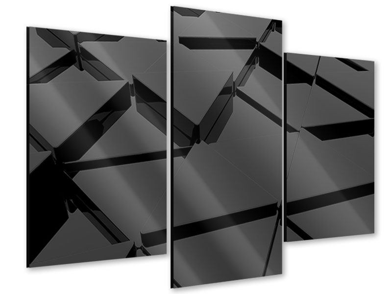Acrylglasbild 3-teilig modern 3D-Dreiecksflächen