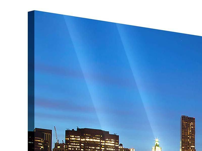 Acrylglasbild 3-teilig modern Skyline Manhattan im Lichtermeer