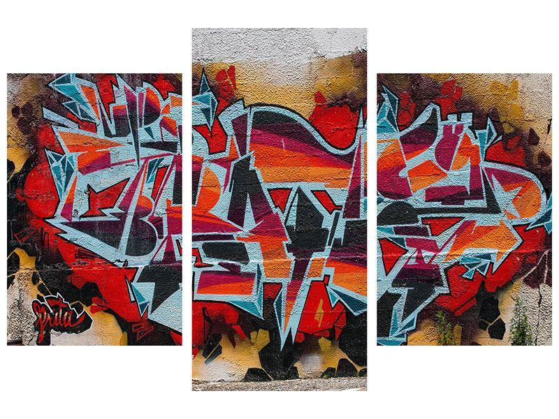 Acrylglasbild 3-teilig modern New York Graffiti