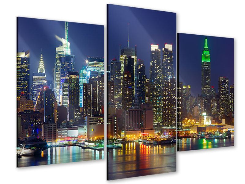 Acrylglasbild 3-teilig modern Skyline New York Midtown bei Nacht