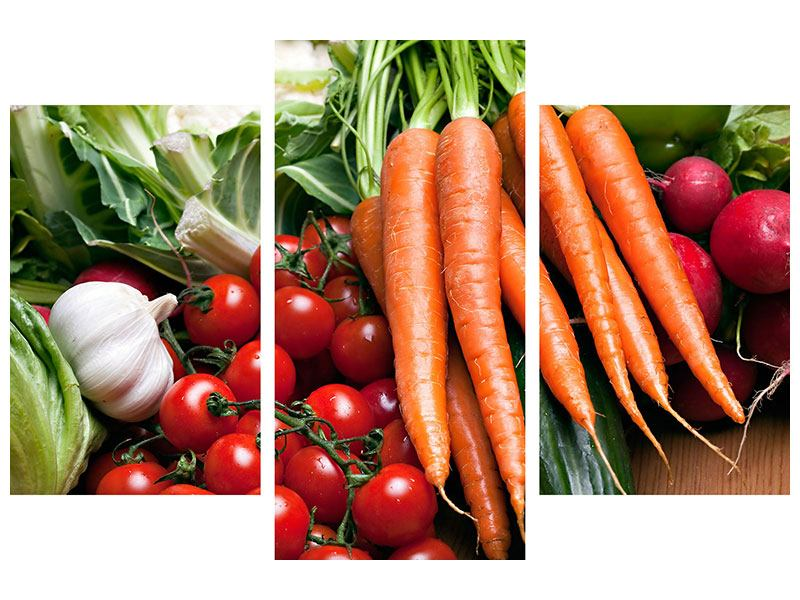 Acrylglasbild 3-teilig modern Gemüse