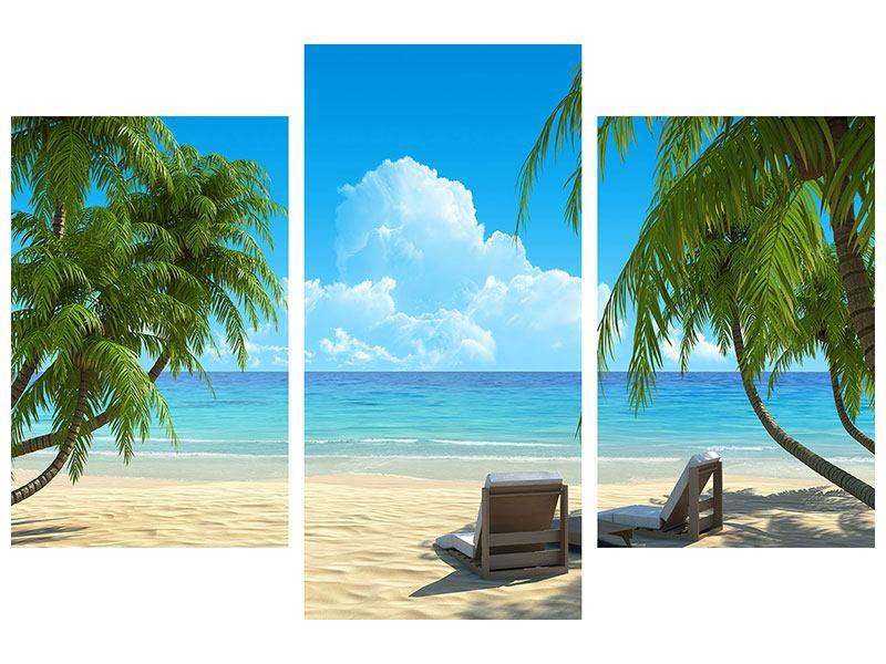 Acrylglasbild 3-teilig modern Strandparadies