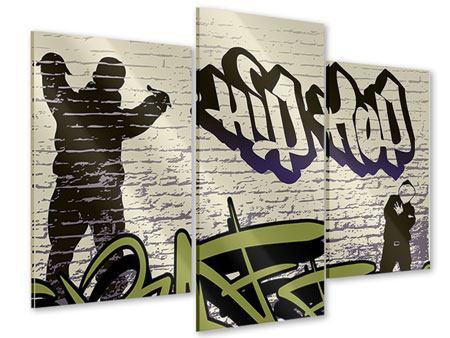 Acrylglasbild 3-teilig modern Graffiti Hip Hop