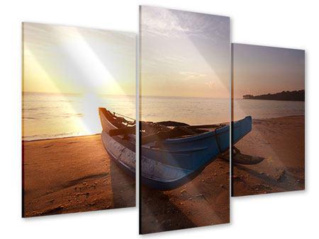 Acrylglasbild 3-teilig modern Das gestrandete Boot