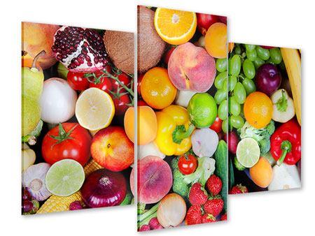 Acrylglasbild 3-teilig modern Frisches Obst