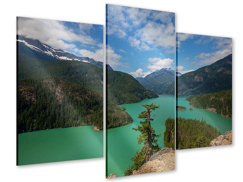 Acrylglasbild 3-teilig modern Diablo Bergsee