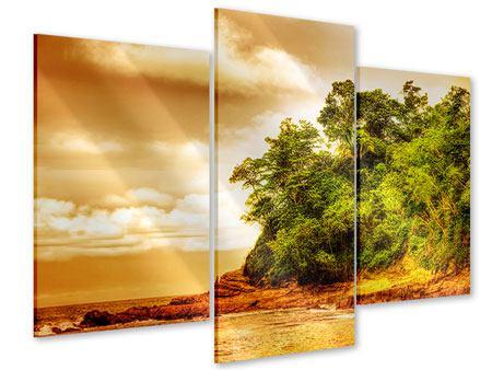Acrylglasbild 3-teilig modern Sonnenuntergang am Ende des Waldes