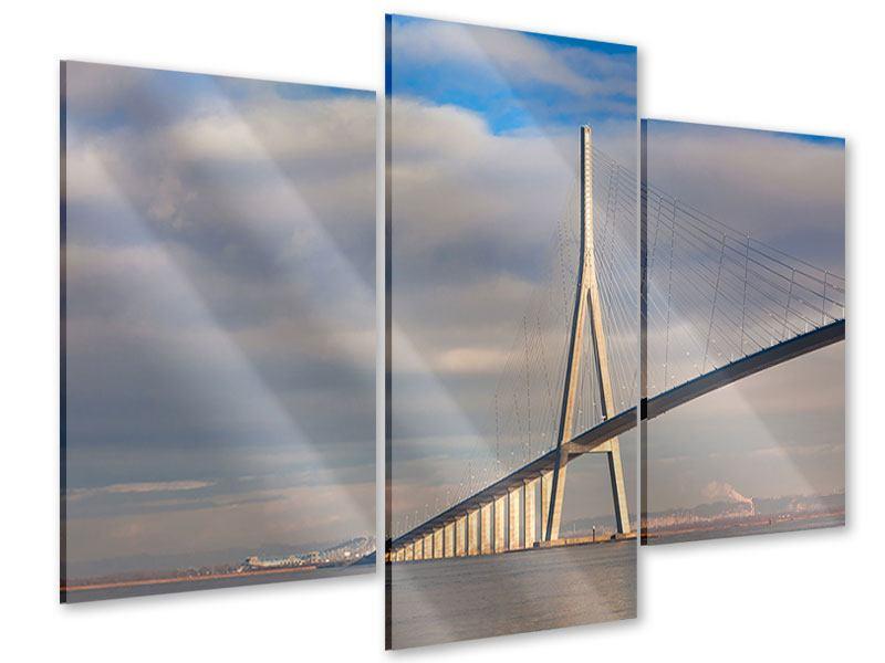 Acrylglasbild 3-teilig modern Pont de Normandie