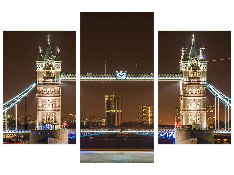 Acrylglasbild 3-teilig modern Tower Bridge bei Nacht