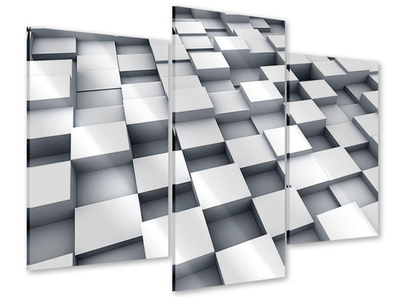 Acrylglasbild 3-teilig modern 3D-Kubus