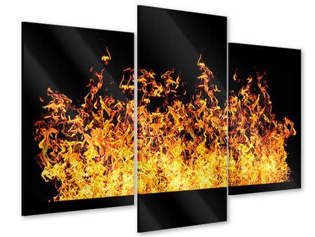 Acrylglasbild 3-teilig modern Moderne Feuerwand