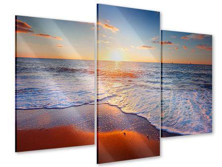 Acrylglasbild 3-teilig modern Sonnenuntergang am Horizont