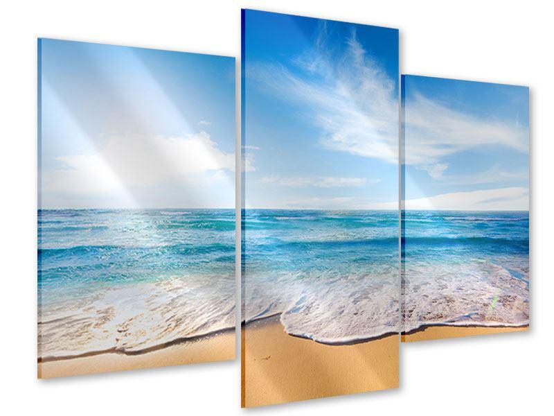 Acrylglasbild 3-teilig modern Spuren im Sand