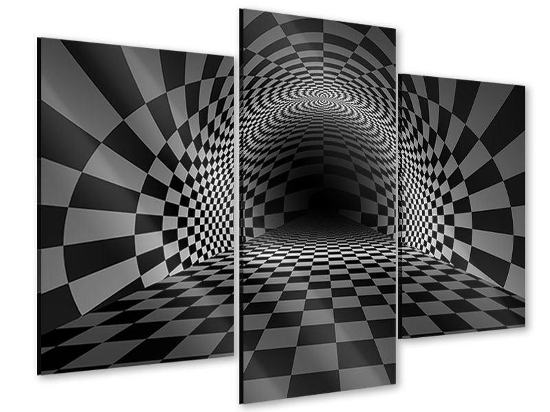 Acrylglasbild 3-teilig modern Abstraktes Schachbrett