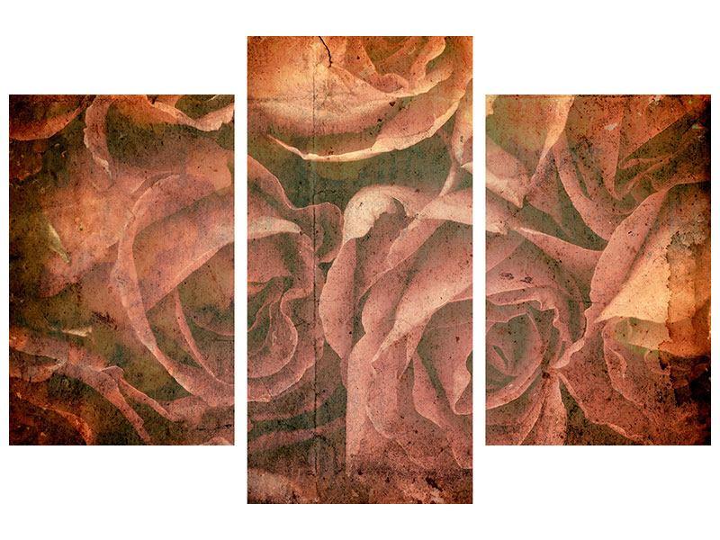 Acrylglasbild 3-teilig modern Rosenbukett