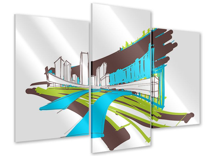 Acrylglasbild 3-teilig modern Graffiti Street-Art