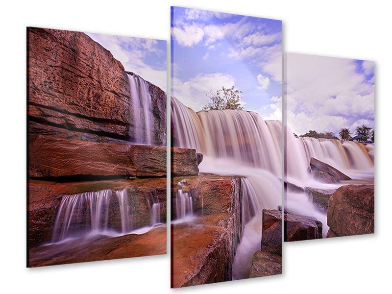 Acrylglasbild 3-teilig modern Himmlischer Wasserfall