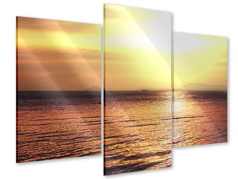 Acrylglasbild 3-teilig modern Sonnenuntergang an der See