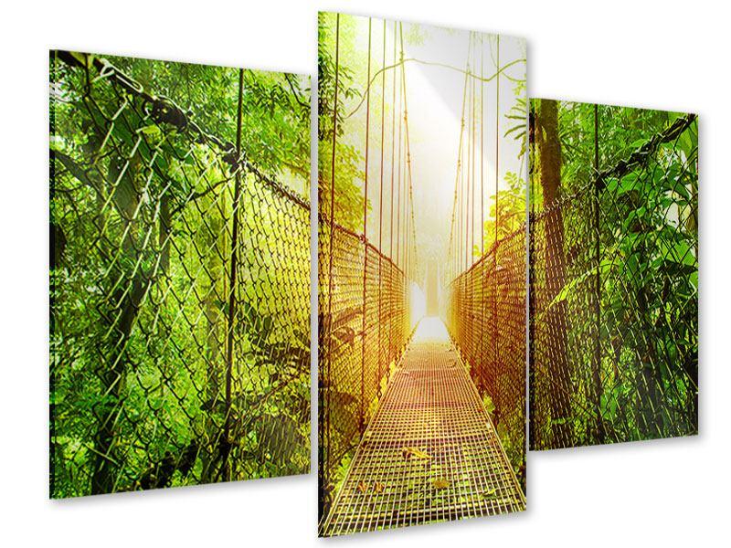 Acrylglasbild 3-teilig modern Hängebrücke