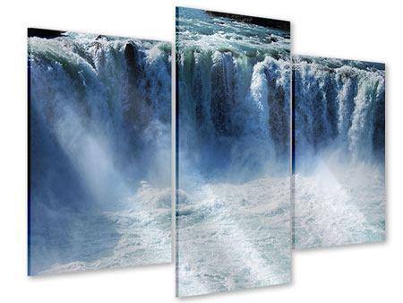 Acrylglasbild 3-teilig modern Mächtiger Wasserfall