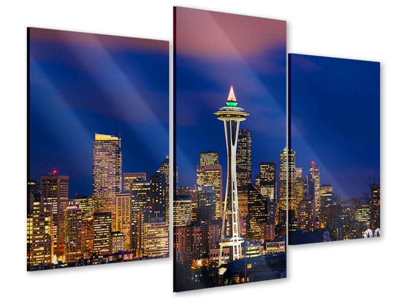 Acrylglasbild 3-teilig modern Skyline Seattle