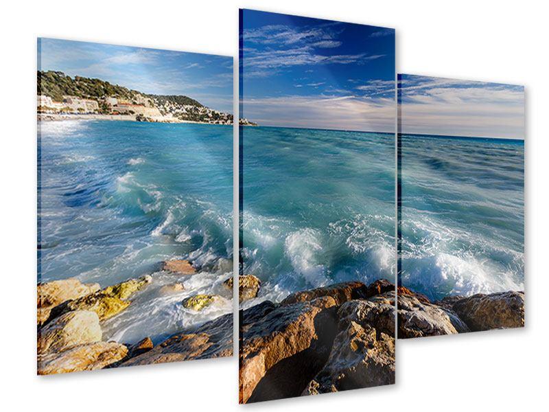 Acrylglasbild 3-teilig modern Cote D`Azur