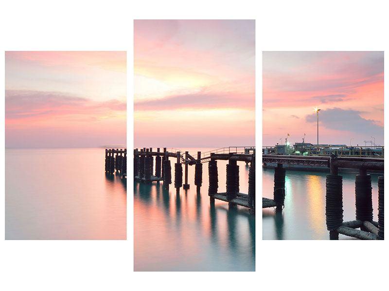 Acrylglasbild 3-teilig modern Der beruhigende Sonnenuntergang