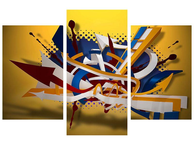 Acrylglasbild 3-teilig modern Graffiti Art