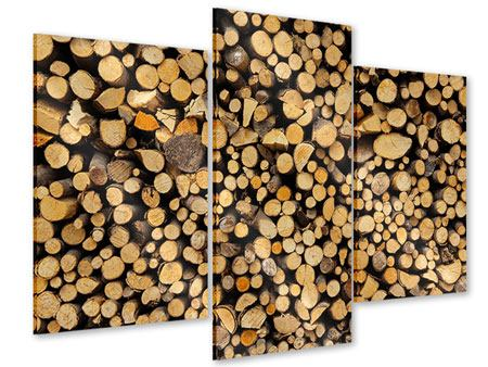 Acrylglasbild 3-teilig modern Brennholz