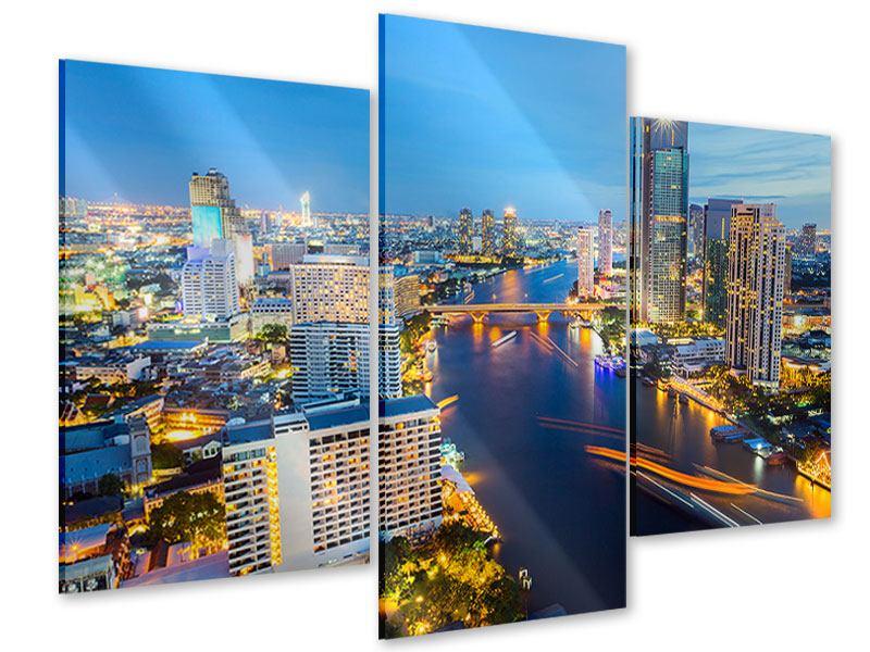 Acrylglasbild 3-teilig modern Skyline Bangkok bei Sonnenuntergang