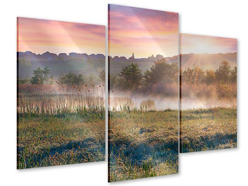 Acrylglasbild 3-teilig modern Sonnenuntergang am Hügel