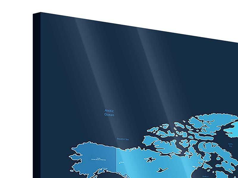 Acrylglasbild 3-teilig modern Weltkarte