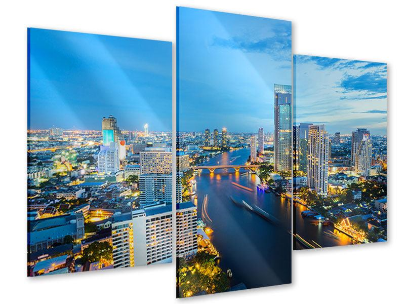 Acrylglasbild 3-teilig modern Skyline Bangkok in der Abenddämmerung