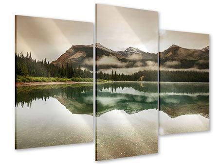 Acrylglasbild 3-teilig modern Spiegelung im Glacier Nationalpark