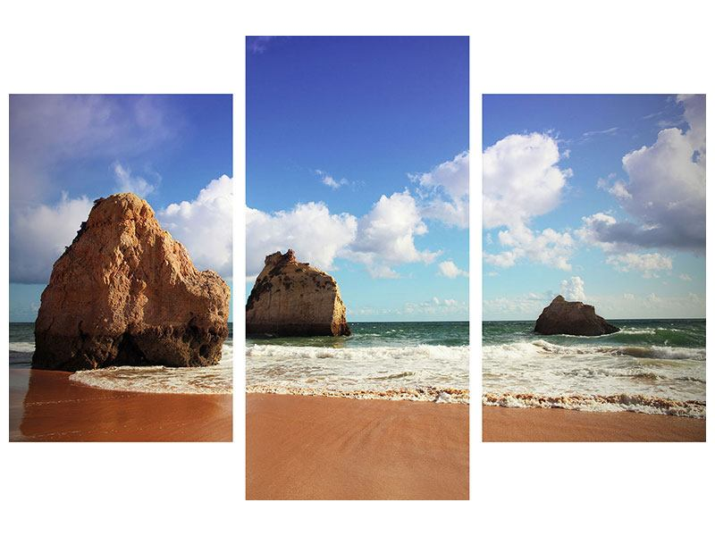 Acrylglasbild 3-teilig modern Strandgedanken