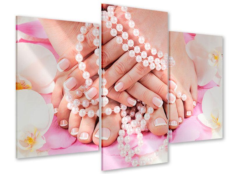Acrylglasbild 3-teilig modern Hände und Füsse