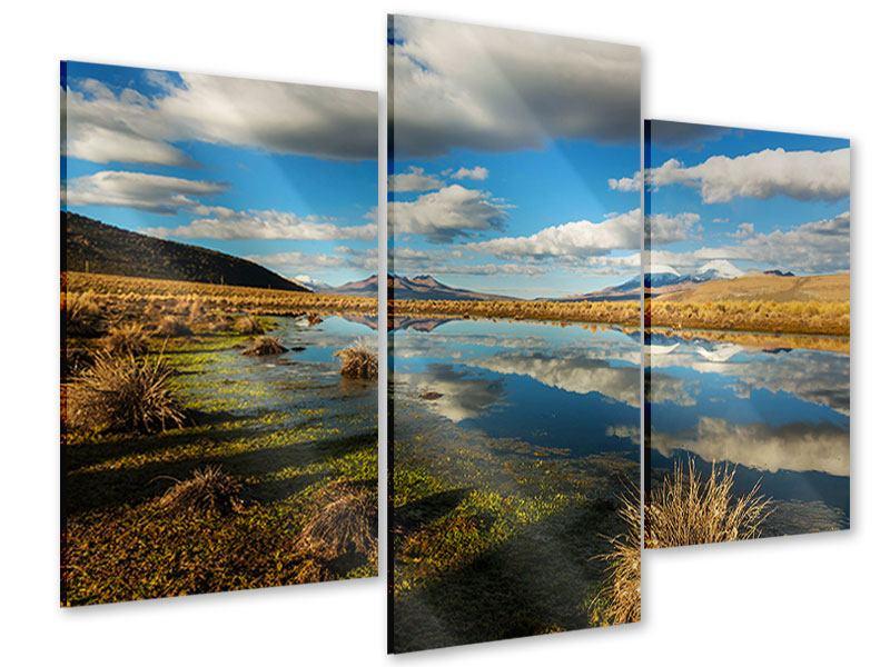 Acrylglasbild 3-teilig modern Wasserspiegelung am See
