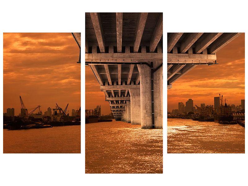 Acrylglasbild 3-teilig modern Die Brücke
