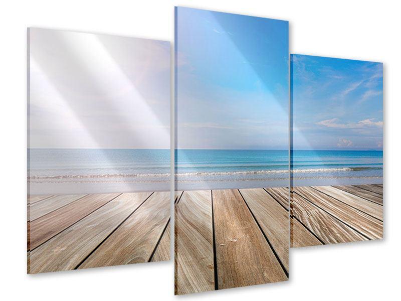 Acrylglasbild 3-teilig modern Das schöne Strandhaus