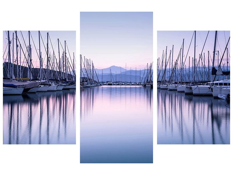 Acrylglasbild 3-teilig modern Yachthafen