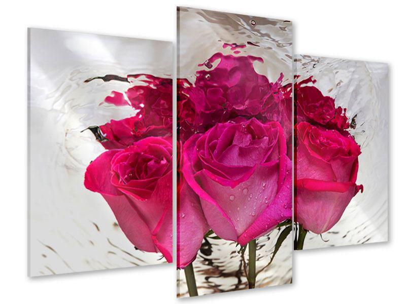 Acrylglasbild 3-teilig modern Die Rosenspiegelung