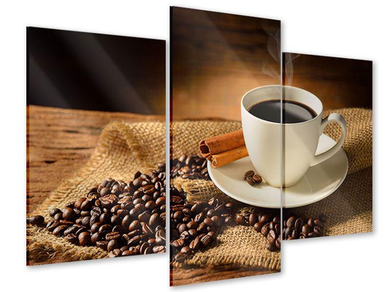 Acrylglasbild 3-teilig modern Kaffeepause