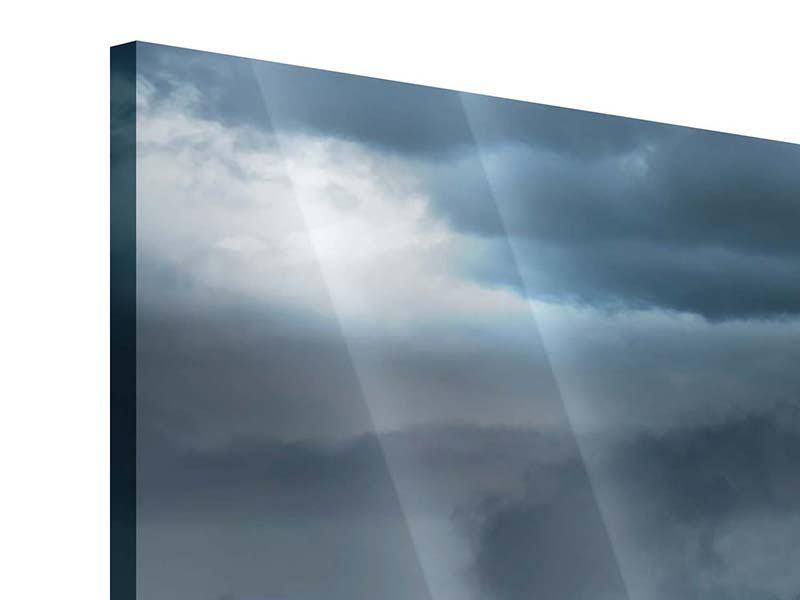 Acrylglasbild 3-teilig modern Silberstreifen
