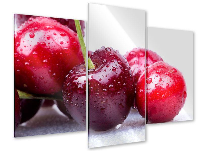 Acrylglasbild 3-teilig modern Kirschen