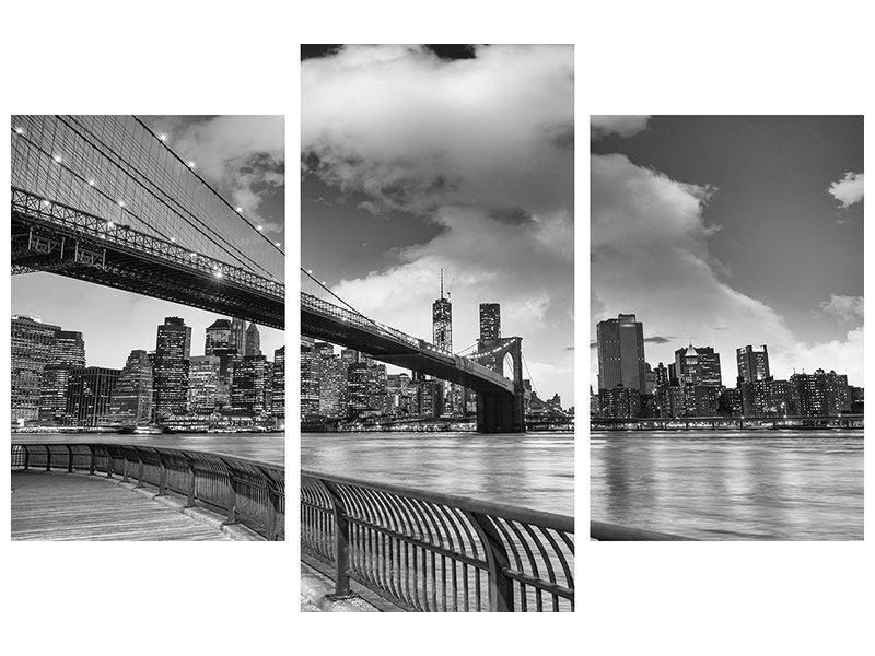 Acrylglasbild 3-teilig modern Skyline Schwarzweissfotografie Brooklyn Bridge NY