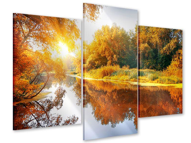 Acrylglasbild 3-teilig modern Waldspiegelung im Wasser