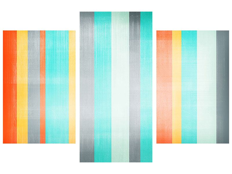 Acrylglasbild 3-teilig modern Grunge Streifen