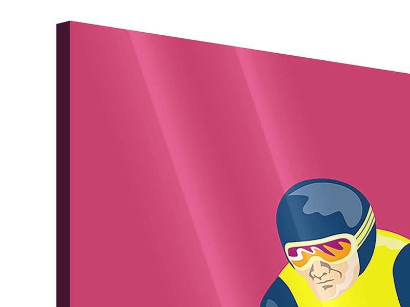 Acrylglasbild 3-teilig modern Retro-Skifahrer