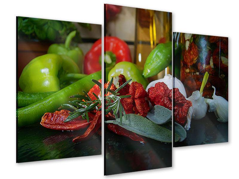 Acrylglasbild 3-teilig modern Mediterranes Gemüse