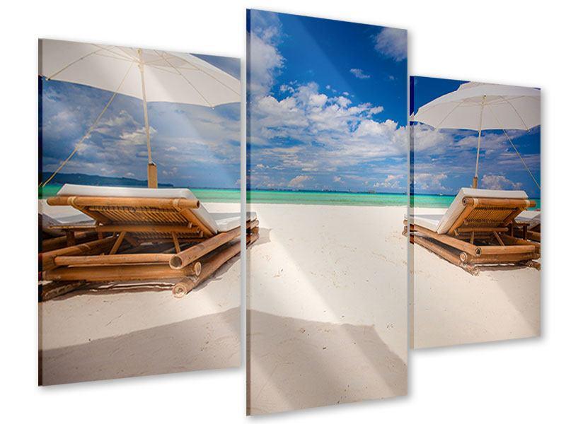 Acrylglasbild 3-teilig modern Liegen am Strand